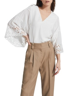 Reiss Cecile Lace Sleeve Blouse
