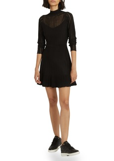 Reiss Clemmy Pleated Long Sleeve A-line Minidress