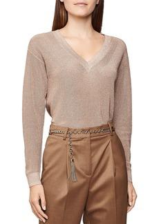 REISS Effie Metallic V-Neck Sweater