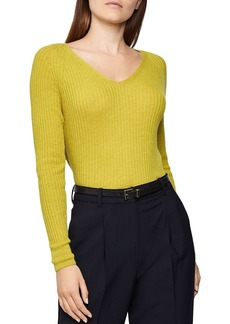 REISS Elouise Ribbed Knit V-Neck Top