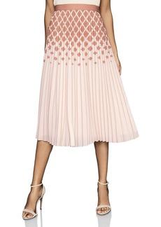 REISS Elsa Mixed Print Pleated Skirt