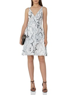 REISS Elsie Fit-and-Flare Printed Dress