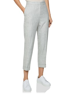 Reiss Esmé Grey Marled Straight Leg Wool & Linen Blend Trousers