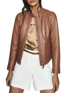 REISS Fawn Center-Front Leather Jacket