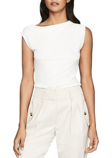 REISS Flavia Zip Shoulder Top
