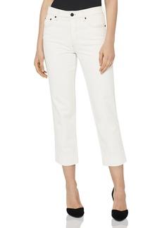 REISS Flint Contrast-Stitch Crop Straight Jeans in Off White