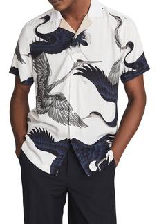 Reiss Gigi Print Short Sleeve Button-Up Shirt