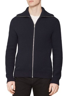 REISS Harding Ribbed Zip-Front Sweater