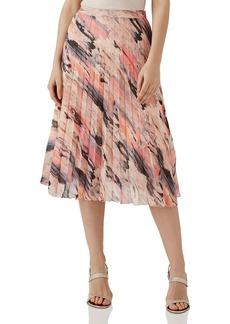 REISS Harriet Pleated Blur-Print Skirt