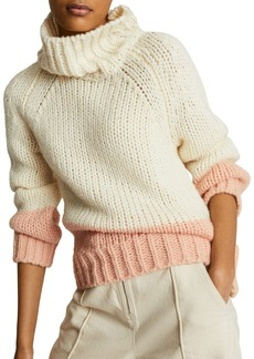 REISS Hettie Color Block Chunky Roll Neck Sweater