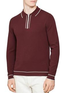 REISS Lanark Piqu� Tipped Quarter-Zip Sweater