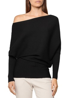 REISS Lorna Draped Cold Shoulder Top