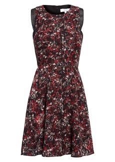 Reiss Louise Mesh Detail Floral Sleeveless Fit & Flare Minidress
