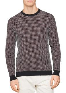 REISS Luxton Dogtooth Crewneck Sweater
