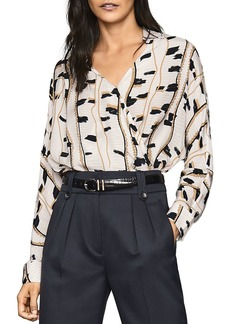 REISS March Snake Printed Wrap-Front Top