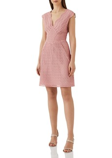 REISS Marianna Structured Lace Dress