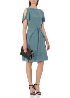 REISS Mira Cold-Shoulder Silk Dress