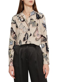 Reiss Nouela Butterfly Print Blouse