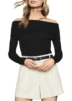 REISS Off-The-Shoulder Long-Sleeve Top