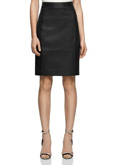 REISS Olivia Leather-Front Skirt