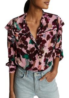 Reiss Phoenix Floral Ruffle Long Sleeve Blouse