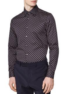 REISS Pisa Medallion Print Regular Fit Button-Down Shirt