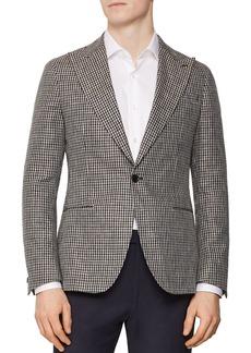 REISS Princeton Single-Button Houndstooth Blazer