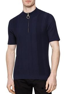 REISS Rathie Textured Slim Fit Half-Zip Shirt