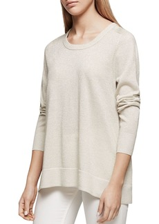 REISS Reagan Tie-Back Sparkling Metallic Sweater
