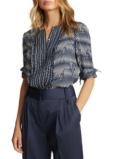 Reiss Rebecca Abstract Pleated Blouse