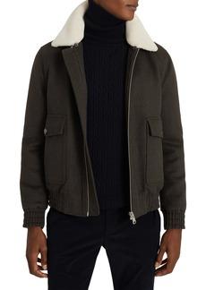 Reiss Rivet Slim Fit Faux Shearling Collar Wool Blend Bomber Jacket