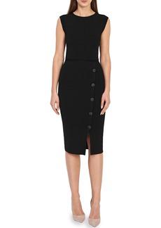 Reiss Sasha Button Detail Stretch Knit Midi Dress