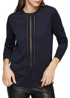 REISS Serena Sheer-Inset Wool Sweater