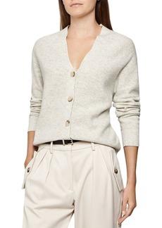 REISS Simone Wool-Blend Mixed Knit Cardigan