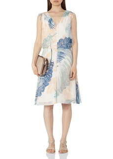 REISS Sirus Leaf Print Dress