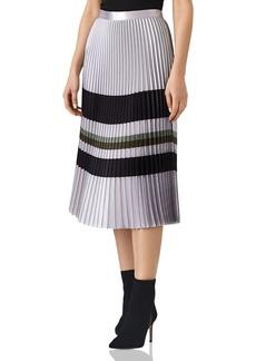 REISS Sophia Metallic Pleated Midi Skirt