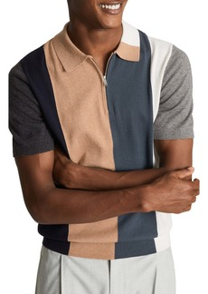 Reiss Strokes Slim Fit Colorblock Wool & Cotton Polo Shirt