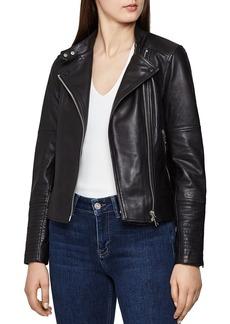 REISS Tallis Leather Biker Jacket
