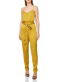 REISS Tania Belted Button-Front Jumpsuit