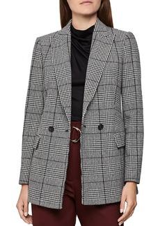 REISS Tanna Wool-Blend Plaid Blazer