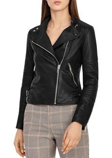 REISS Tay Leather Biker Jacket