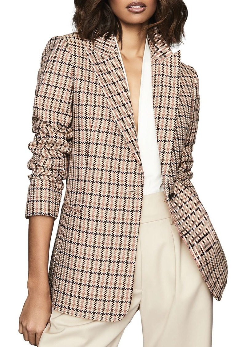 REISS Taylor Checked One-Button Blazer
