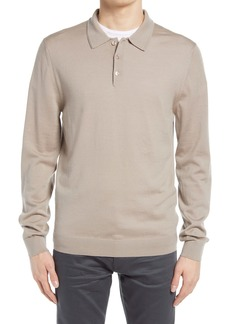 Reiss Trafford Slim Fit Solid Long Sleeve Wool Men's Polo Shirt