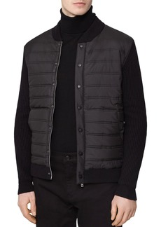 REISS Watson Knit-Sleeve Quilted Jacket