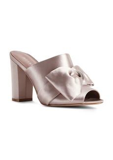 REISS Women's Molly Bow-Detail Satin Slide Sandals