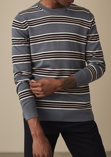 Reiss Samuel Stripe Print Crew Neck Sweatshirt