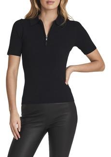 Women's Reiss Tia Rib Short Sleeve Half Zip Sweater