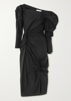Rejina Pyo Andi Ruched Cotton-poplin Midi Dress