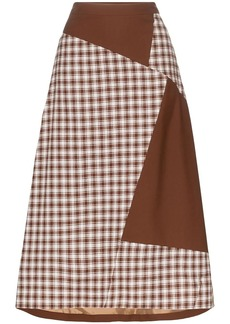 Rejina Pyo check patch midi skirt