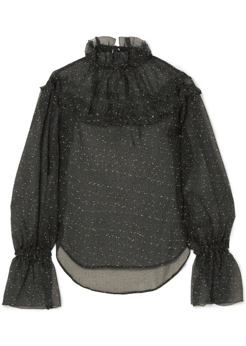 Rejina Pyo Georgia ruffled embroidered organza blouse